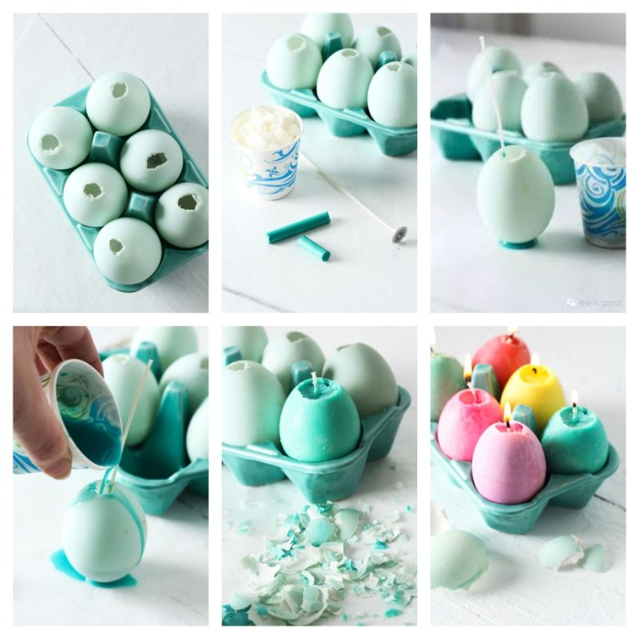 easter centerpieces, how to make egg candles, diy tutorial, step by step, colourful candles
