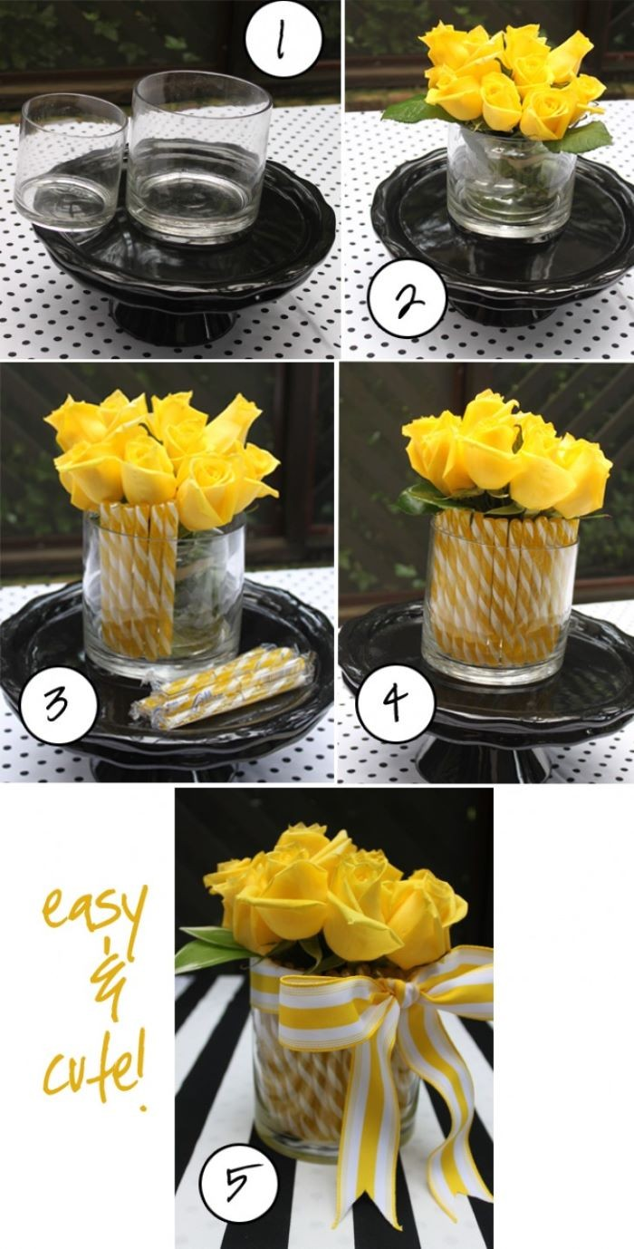 sstep by step diy tutorial, glass vases, bouquet of yellow roses, easter centerpieces