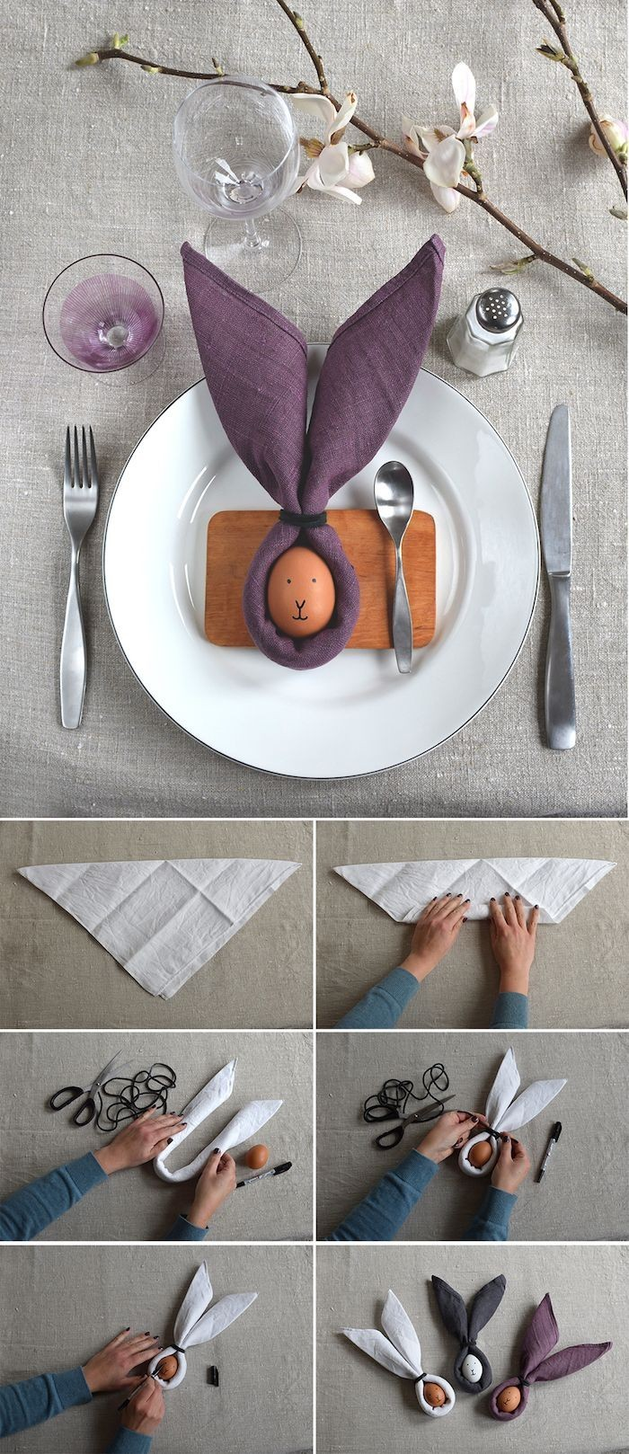 how to fold a napkin, step by step diy tutorial, easter table decorations, purple napkins