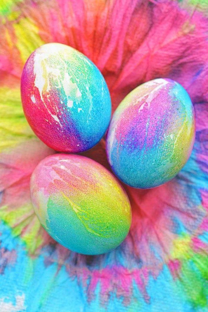 rainbow coloured, dyed eggs, shaving cream easter eggs, rainbow coloured background