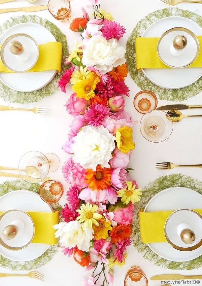 yellow napkins, across white plate settings, easter decorating ideas table setting, flower table runner