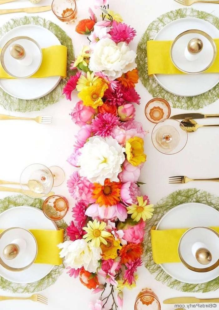 yellow napkins, across white plate settings, easter decorating ideas table setting, flower table runner