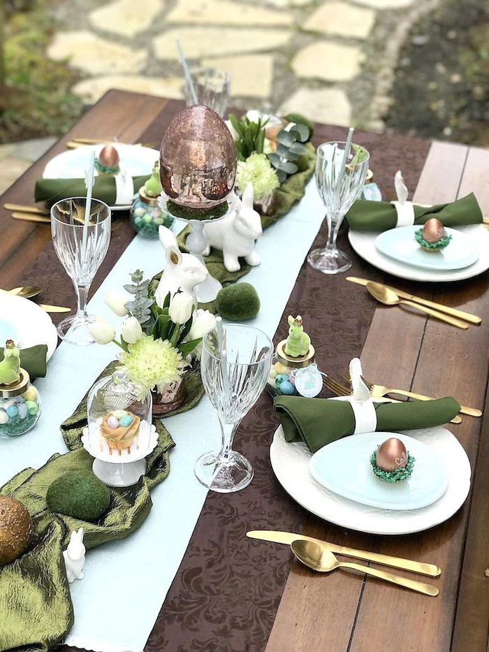 olive green napkins, green table runner, diy easter decorations, dyed eggs, across the table