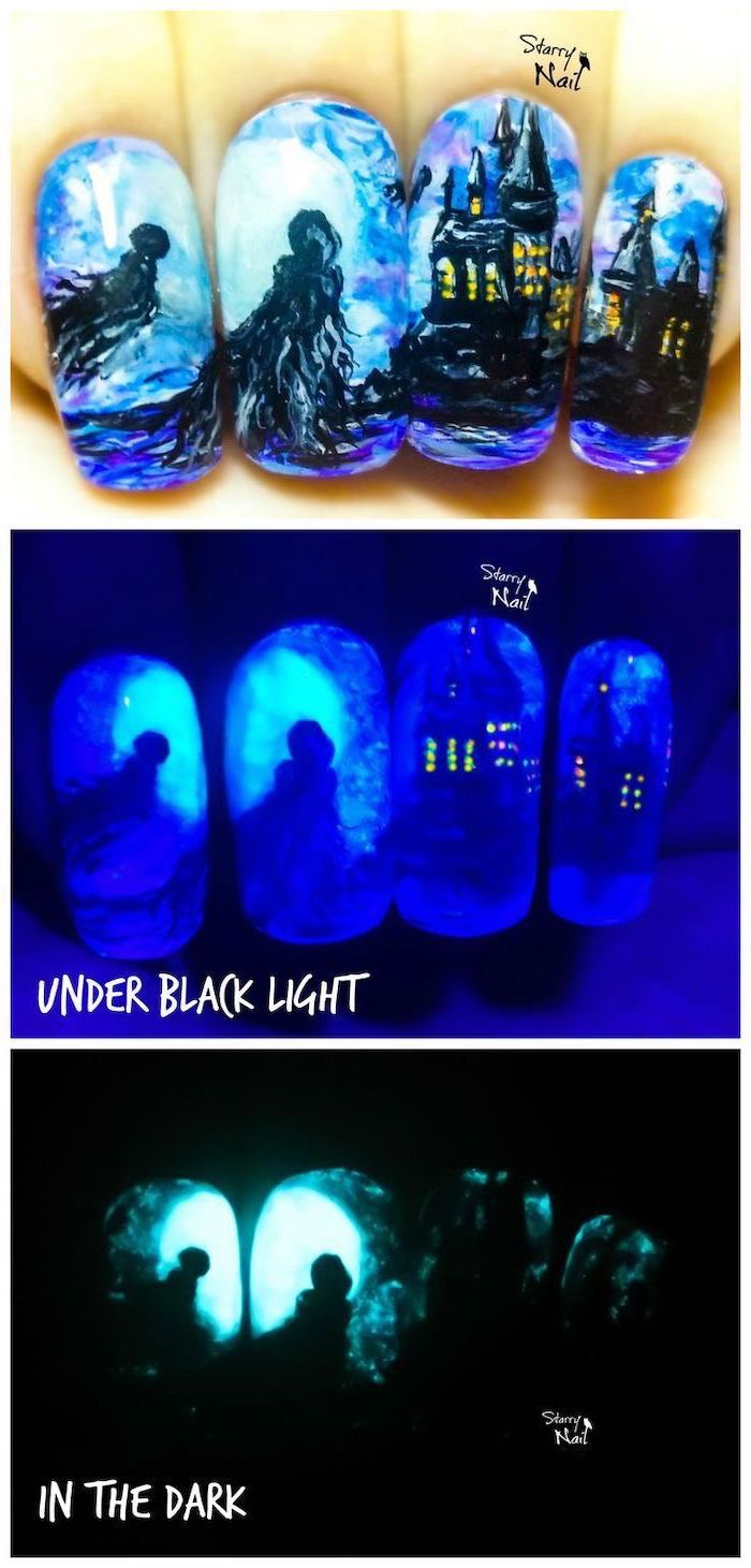 harry potter inspired drawings, of a dementor and hogwarts, glow in the dark nail polish, nail color ideas