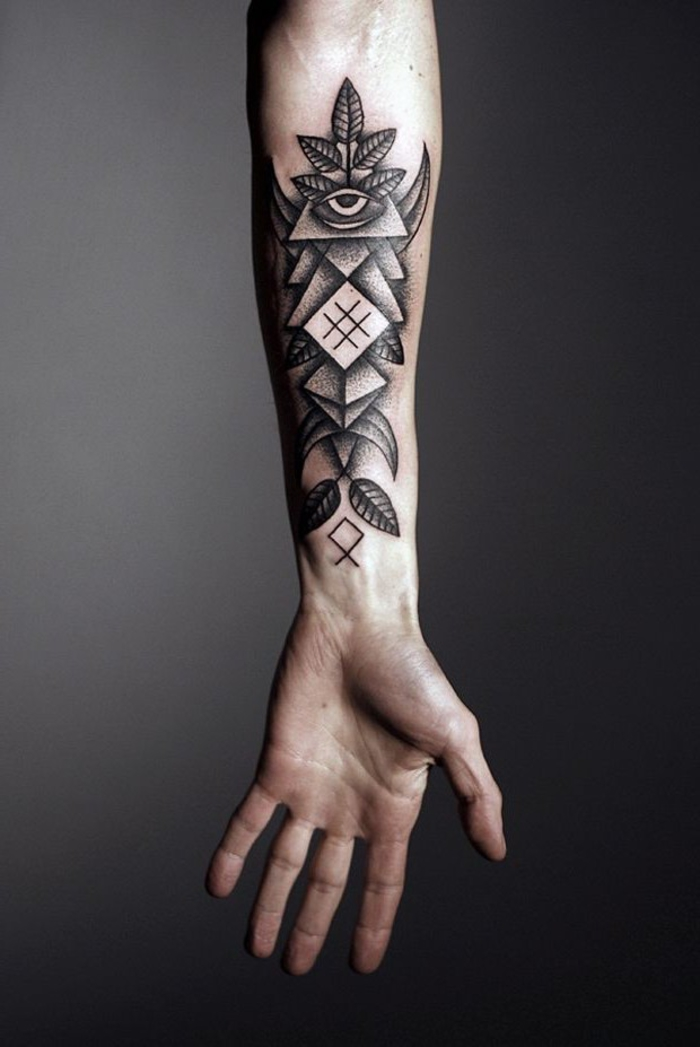 forearm tattoo, inspired by the egyptian gods, sacred tattoo, black background
