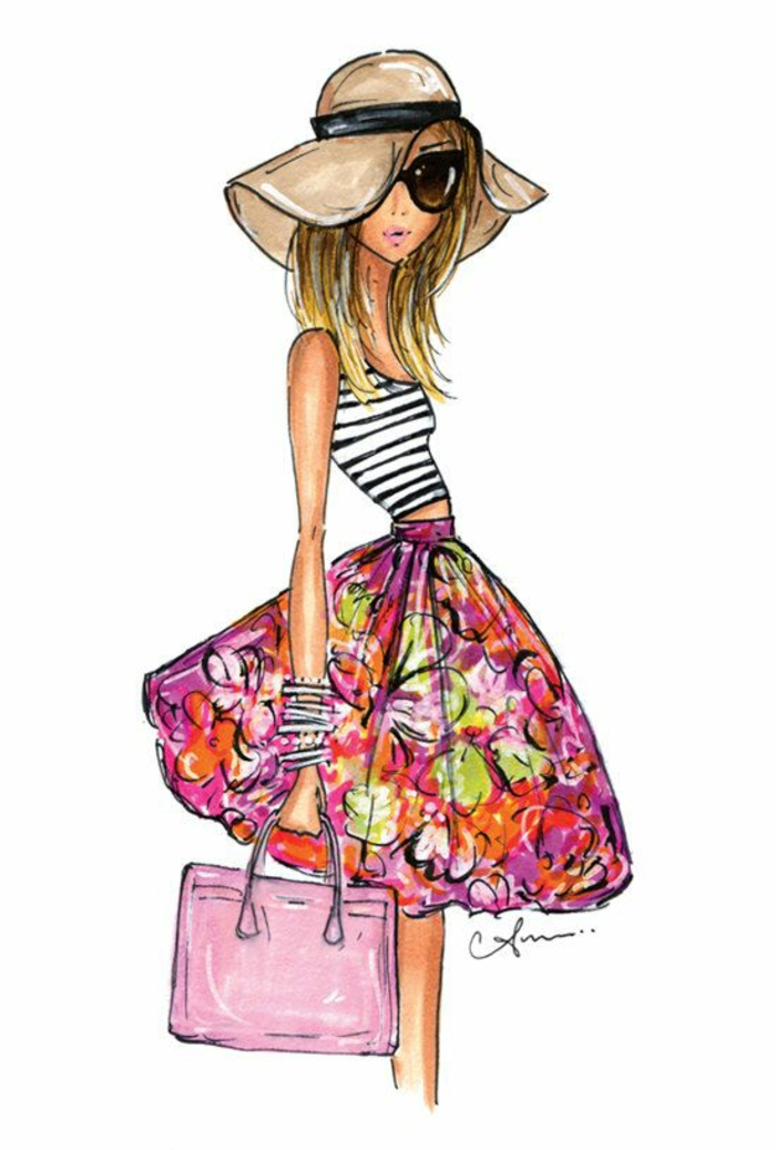 floral skirt, pink bag, cute sketches, black and white striped top, large sun hat, black sunglasses