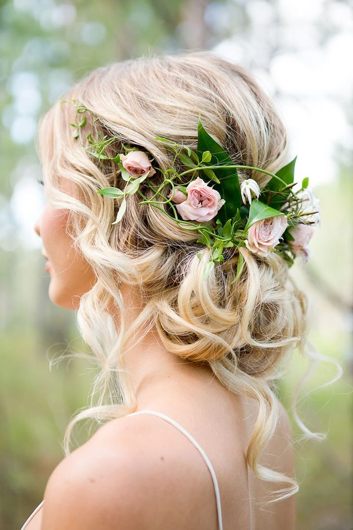long blonde wavy hair, in a low updo, easy hairstyles to do yourself, flower headband, white straps
