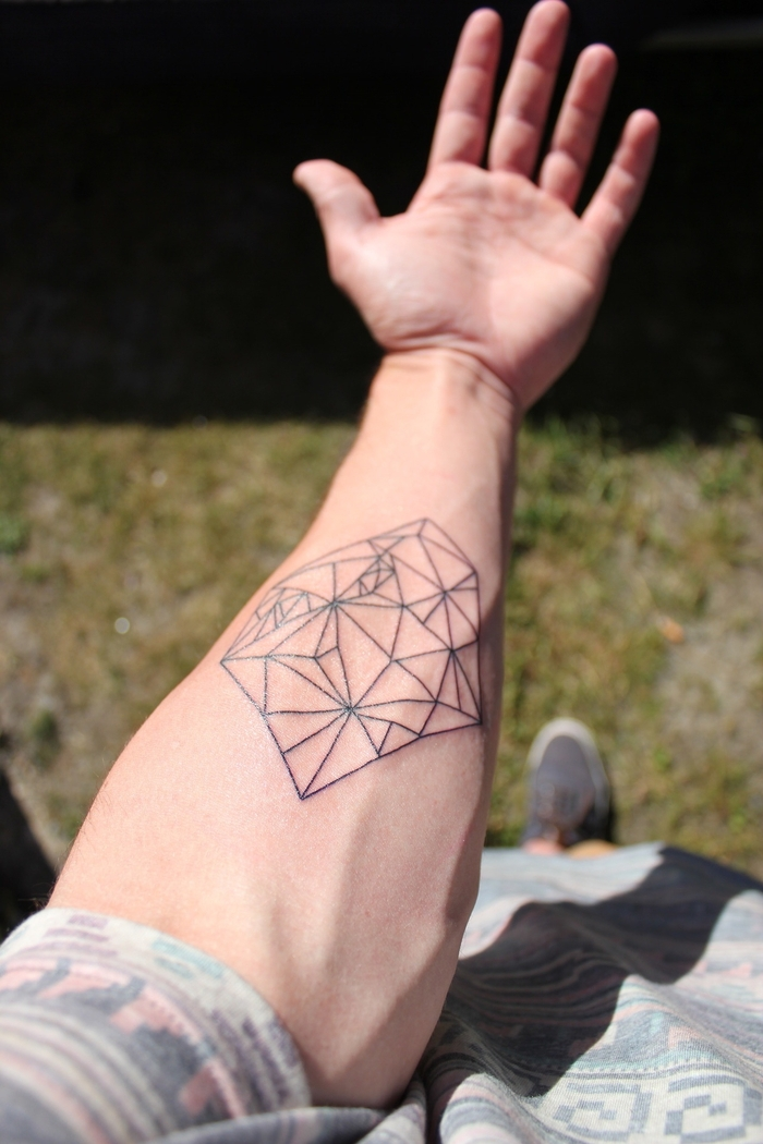 geometrical shapes, forearm tattoo, back forearm tattoos, man wearing a patterned shirt