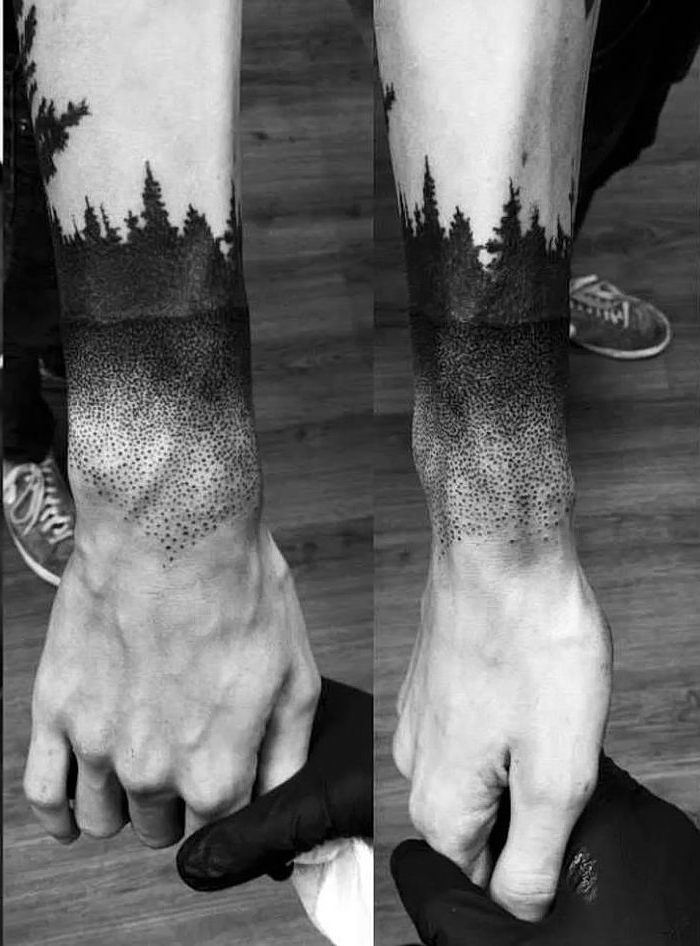 forest landscape, wrist tattoo, hand with black gloves, holding another hand, shoulder tattoos for men