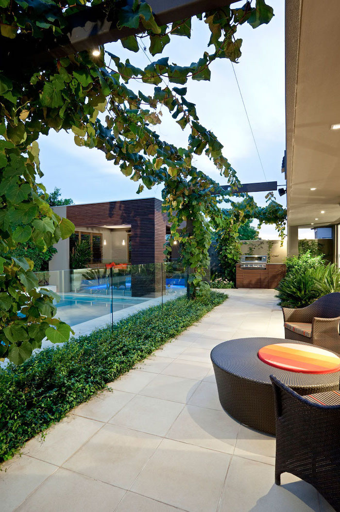 grape vines, over the garden furniture, cement tiles on the floor, small backyard landscaping ideas