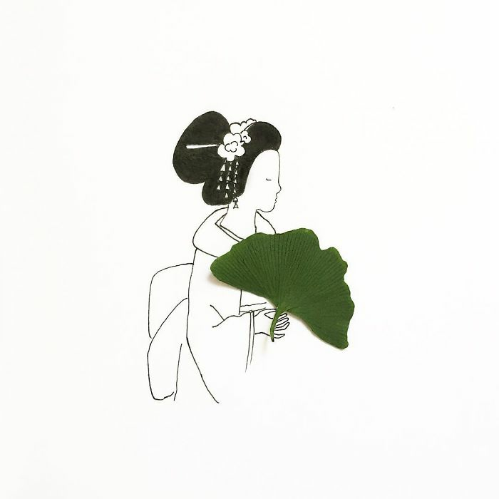 black and white drawing of a geisha, green leaf, used as a fan, how to draw a girl face