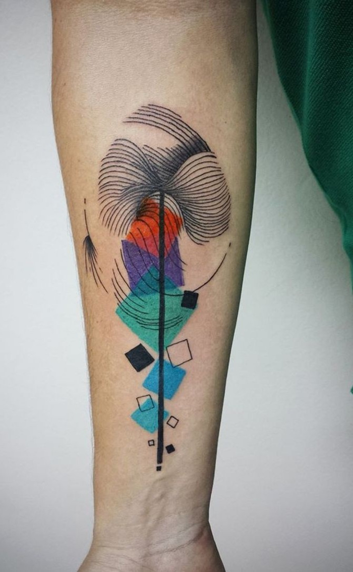colourful geometrical shapes, on the back of the arm, geometric animal tattoos, white background