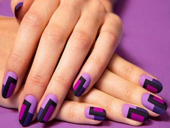 geometrical manicure, nail design ideas, pink black and purple matte nail polish, purple background