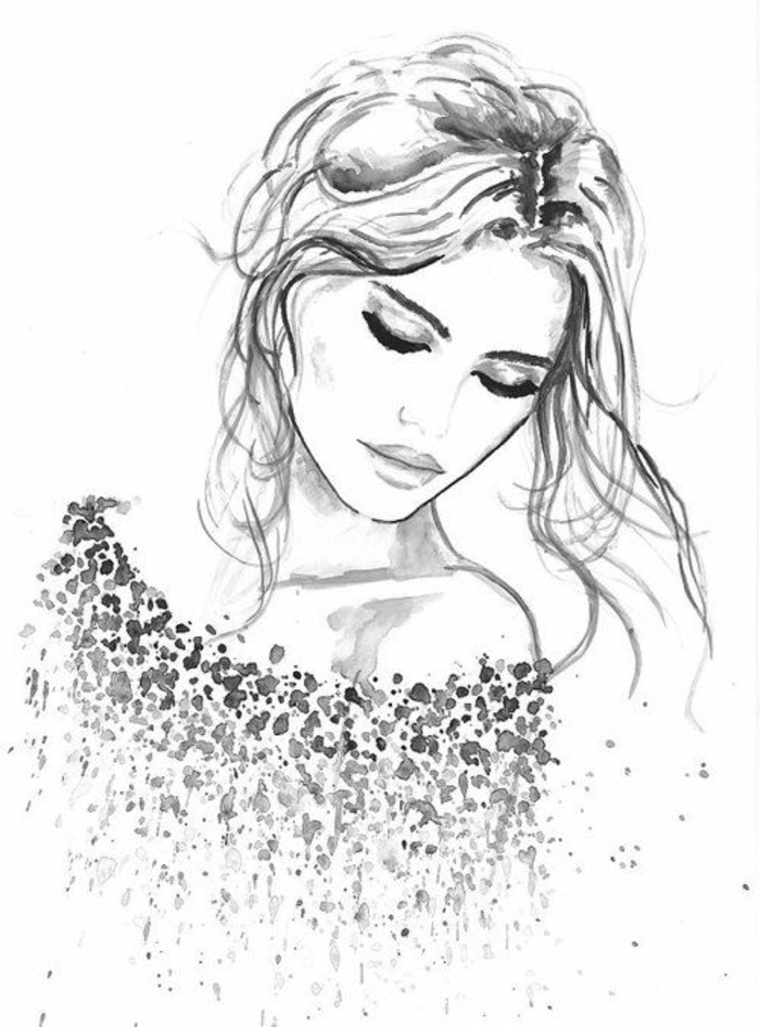 black and white drawing, a girl looking over her shoulder, hair in a messy bun, how to draw a girl face