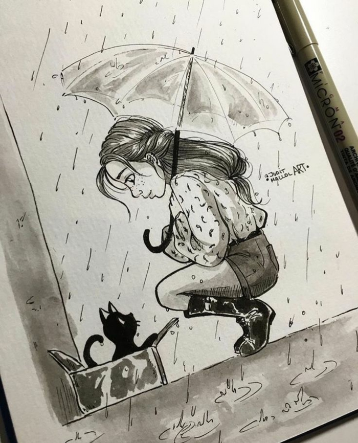girl holding an umbrella, cute drawings, black cat in a box, long wavy braided hair