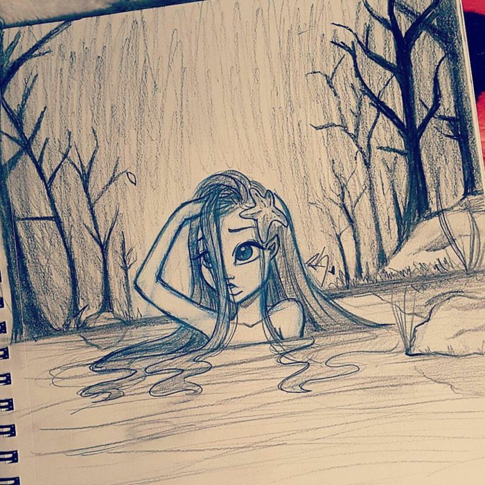 girl in a river, black and white drawing, pretty girl drawing, surrounded by trees and rocks
