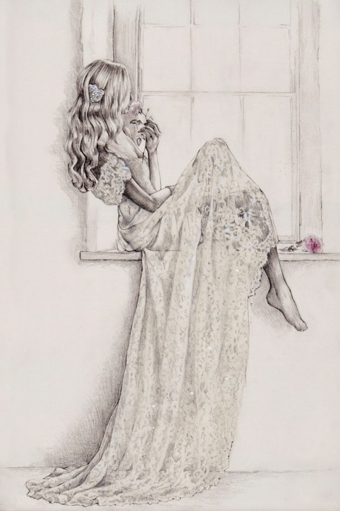girl sitting next to a window, wearing a longe lace dress, long curly hair, pretty girl drawing, holding a flower