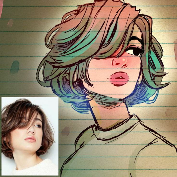 drawing by a photo, colourful short hair, pink lips, pretty girl drawing, realistic drawing