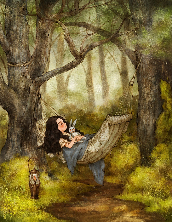 girl sleeping in a hammock, how to draw a girl, holding a plush bunny, surrounded by trees and bushes