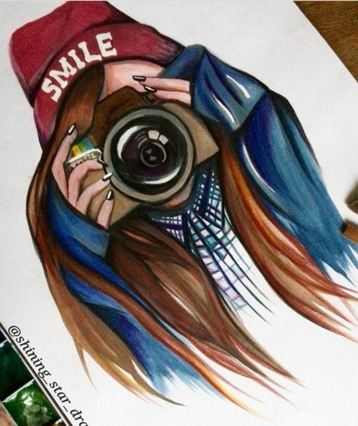 girl holding a camera, long brown hair, red hat with smile inscription, pretty girl drawing, white background
