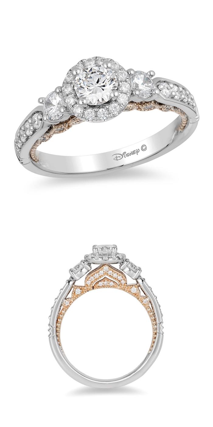 jasmine disney princess inspired ring, large round diamond, unique engagement rings, white background
