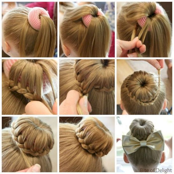 braided hairstyles for little girls, long dark blonde hair, in a braided bun, large golden bow, step by step tutorial