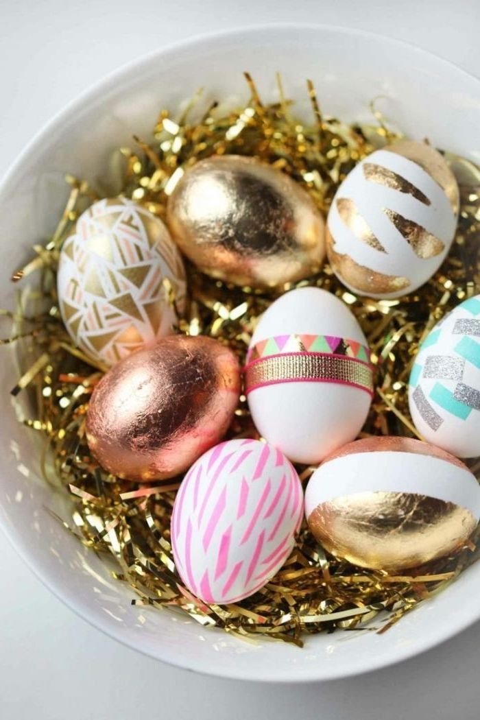 gold and pink, geometrical design, dyed eggs, in a white bowl, how to make easter eggs