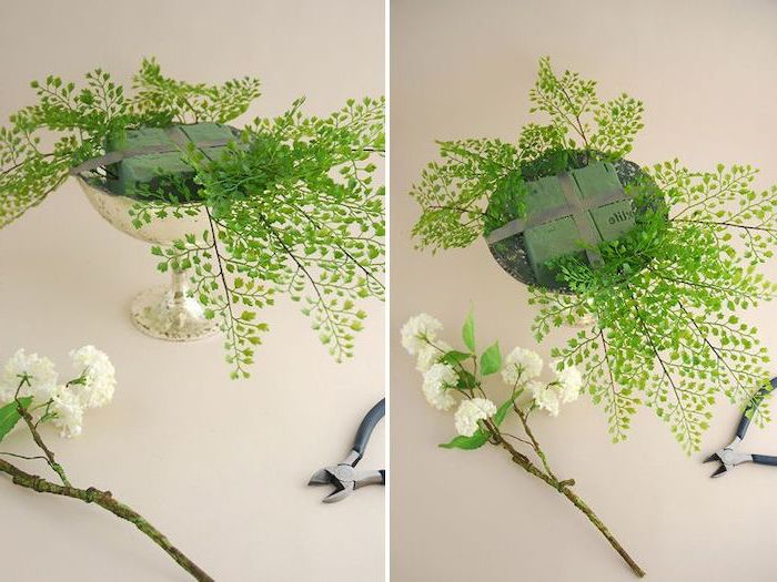 small vase with greenery, diy tutorial, kitchen table centerpieces, on a white countertop