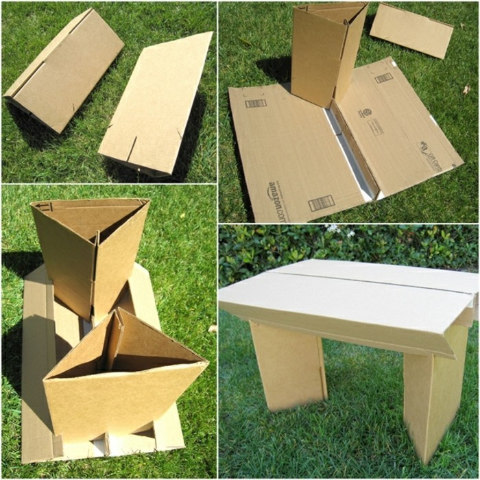 step by step tutorial, how to make a cardboard table, cardboard furniture, diy outside