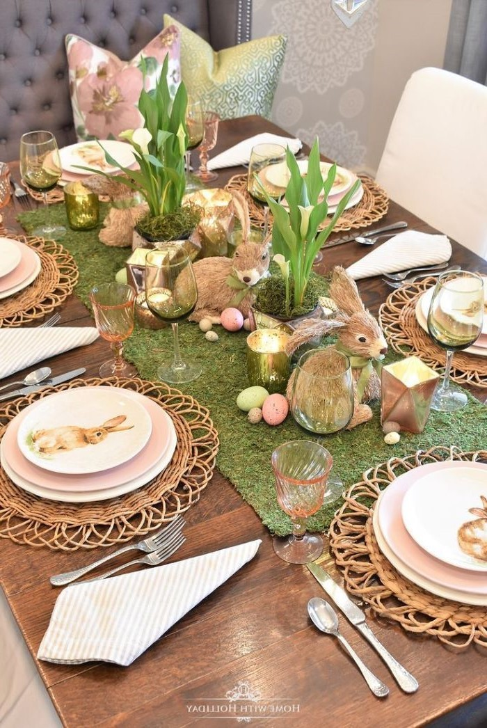 woooden table, easter table decorations, plate settings with bunnies on them, green table runner