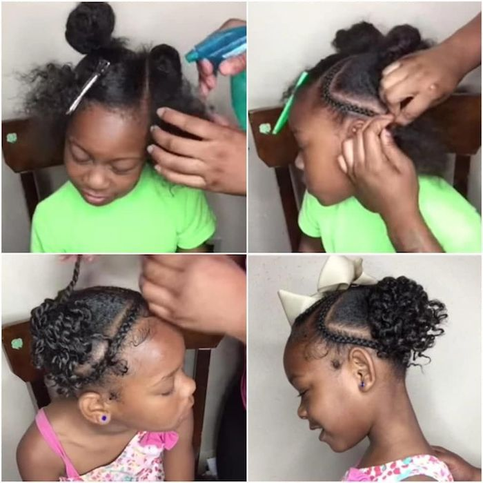 step by step tutorial, black hair, braided buns, green top, pink floral dress, braided hairstyles for little girls