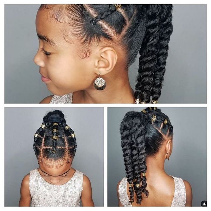 long black hair in three braids, golden elastic bands, cute hairstyles for little girls, grey background