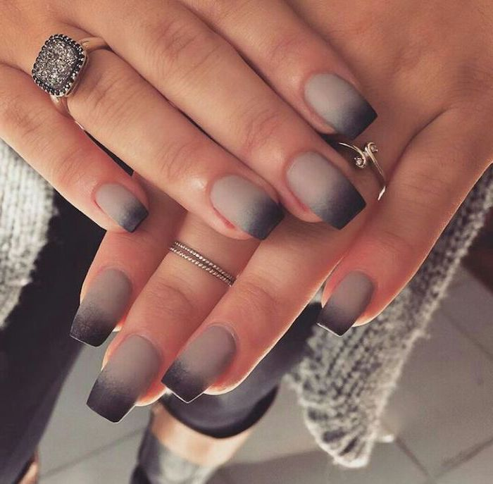 grey and black ombre matte nail polish, nail designs for short nails, long square nails, large diamond ring