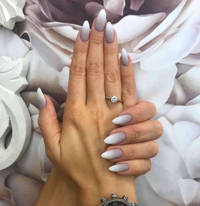 long almond shaped nails, grey and white matte ombre nail polish, nail designs for short nails, cute nail designs for long nails