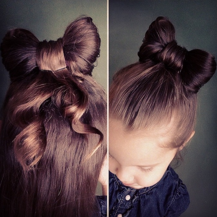 brown hair in bow bun, grey background, cute hairstyles for girls, blue top