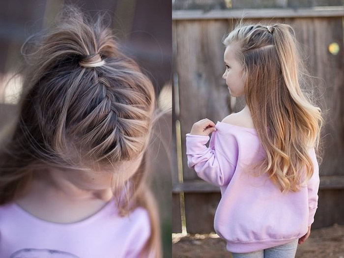 pink blouse, blonde wavy hair, braid ending in a high ponytail, cute hairstyles for little girls