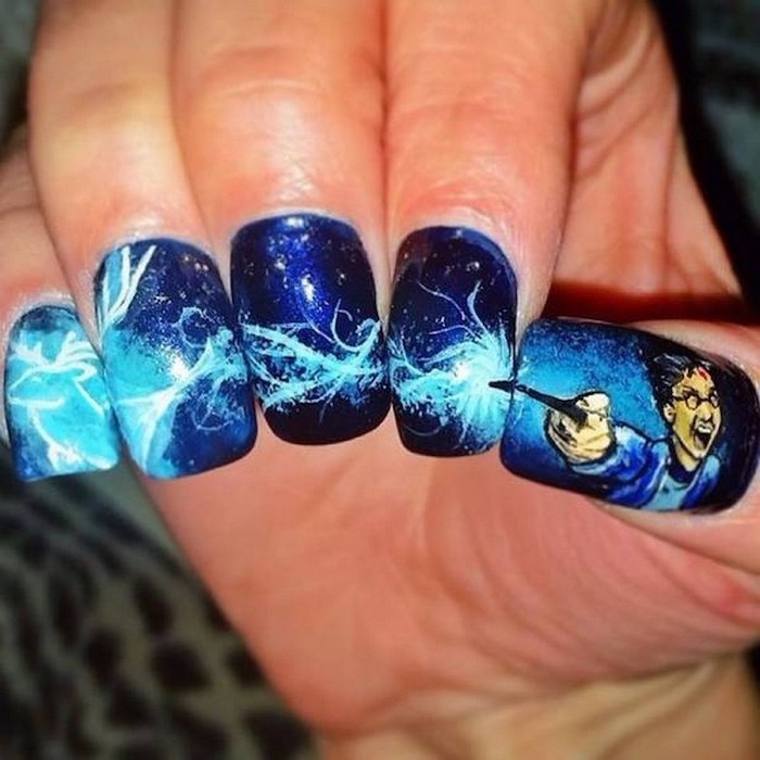 harry potter inspired manicure, nail color ideas, short squoval nails, harry and his wand drawing, cute easy nail designs for short nails
