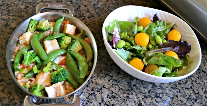 green salad, cherry tomatoes, in a white bowl, best diet for women, meat and peas, in a pot