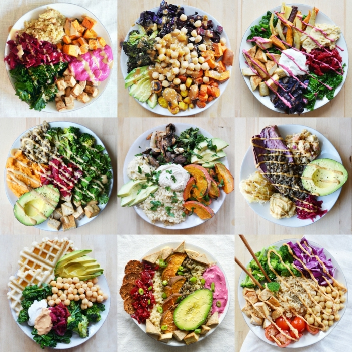 different ideas for a healthy lunch, healthy eating plan, plates full of vegetables, meat and vinaigrette