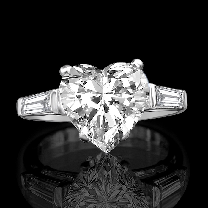 black background, engagement ring styles, heart shaped diamond, diamond studded white gold band