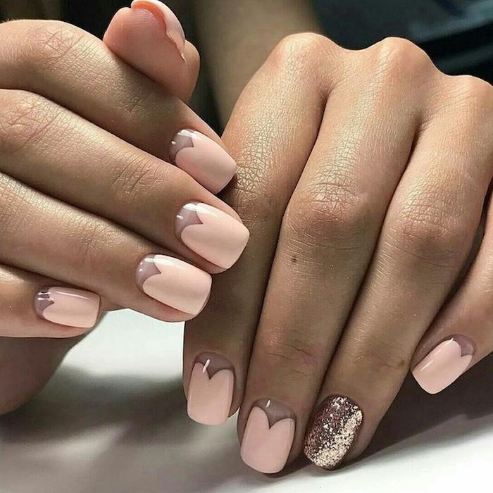 heart shaped nude nail polish, nail designs for short nails, rose gold glitter nail polish on one nail