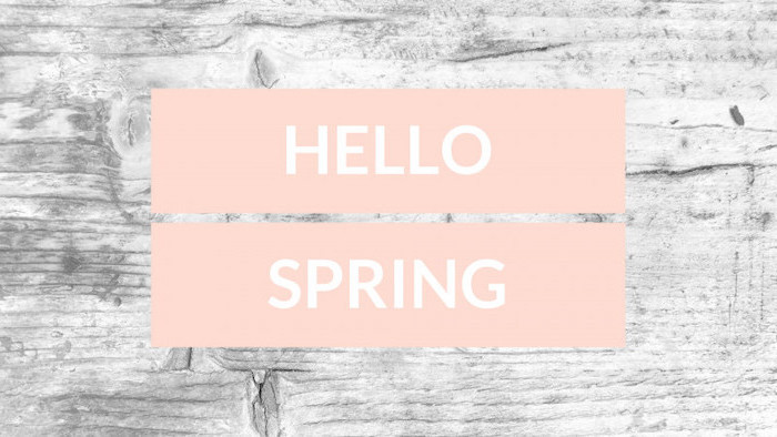 hello spring quote, on an orange background, on a wooden background, spring wallpaper for desktop