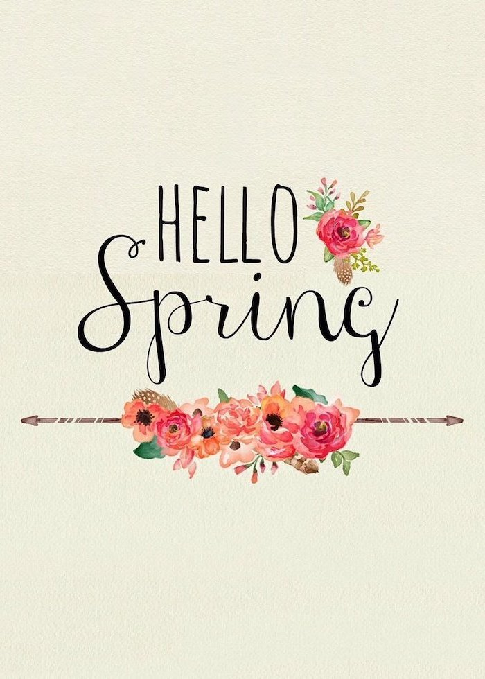 hello spring, white background phone wallpaper, images of spring, drawings of flowers