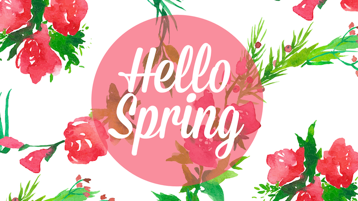 hello spring quote, roses drawn around it, desktop background, spring pictures, white background
