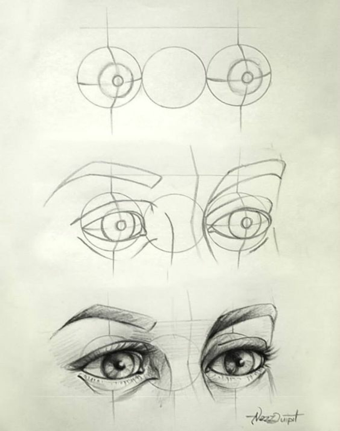 how to draw a cartoon person, step by step tutorial, how to draw eyes, black and white sketch