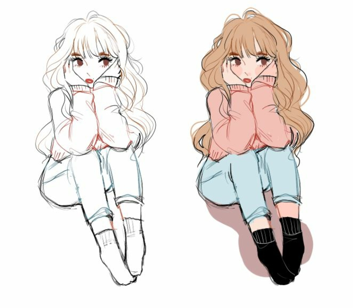 side by side drawings, how to draw a cartoon person, girl sitting, long brown wavy hair, black socks
