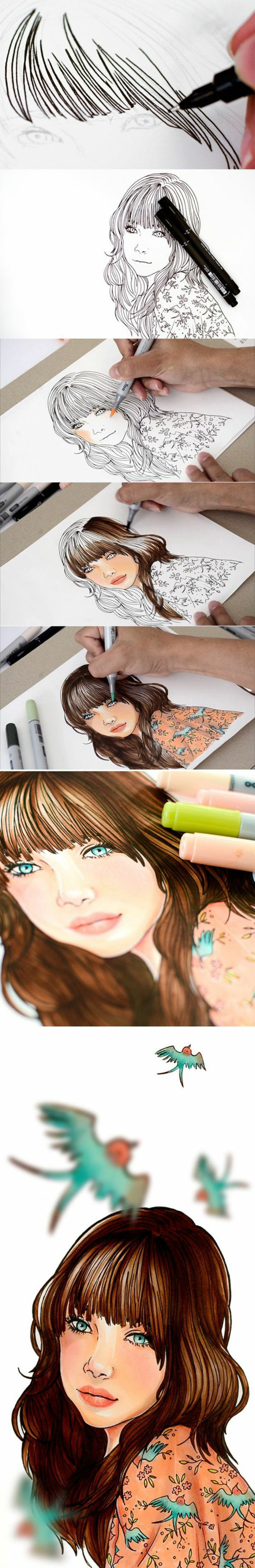 step by step tutorial, how to draw a girl, long brown hair with bangs, floral shirt with birds