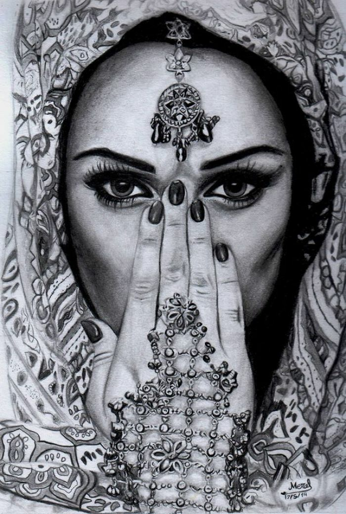 black and white drawing, a girl with a head scarf, anime girl sketch, hand and face jewellery