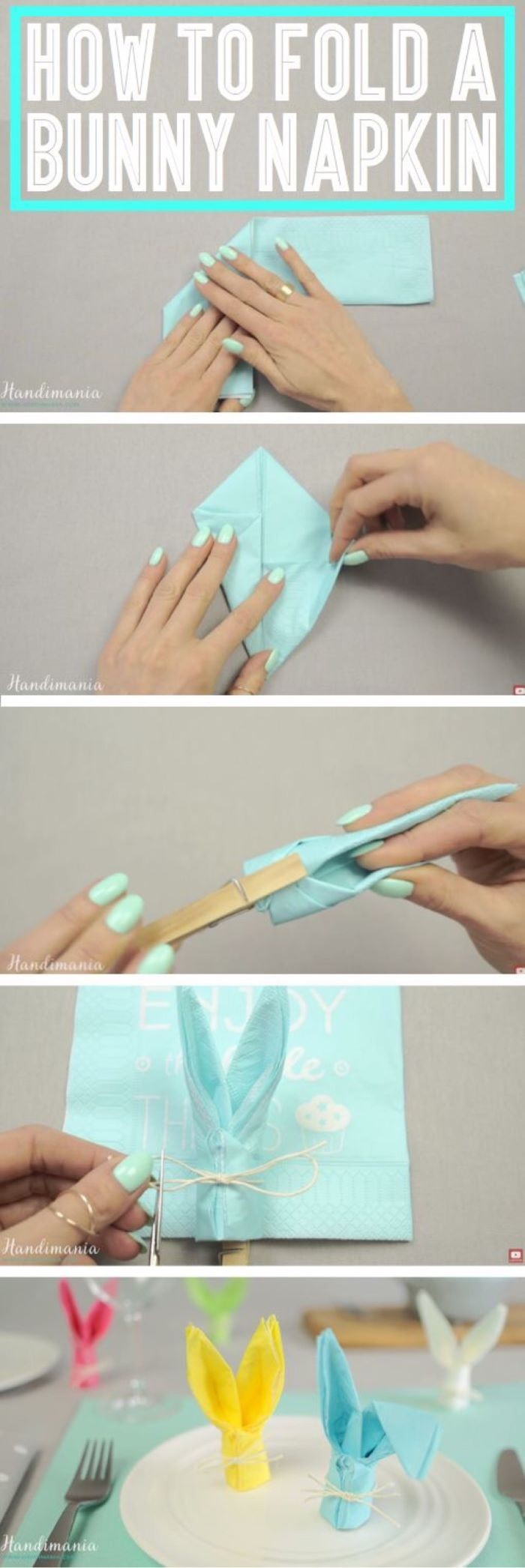 how to fold a bunny napkin, easter table decorations, step by step diy tutorial, blue napkin