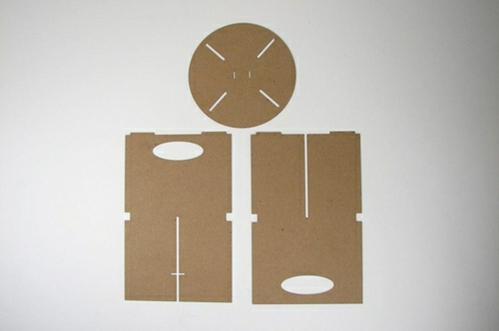cardboard chair, pieces of the stool, how to make a cardboard stool, white background